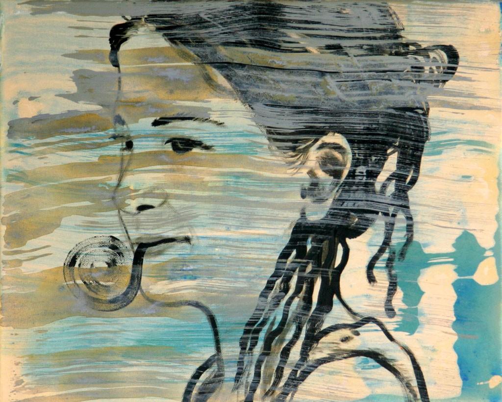 Maria mit nassen Haaren, 50x60, Acr. Pigm., 2009