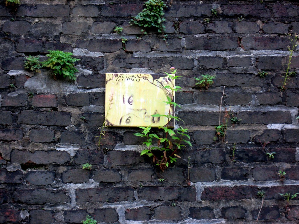 Polly auf der Wand mit Pflanzen