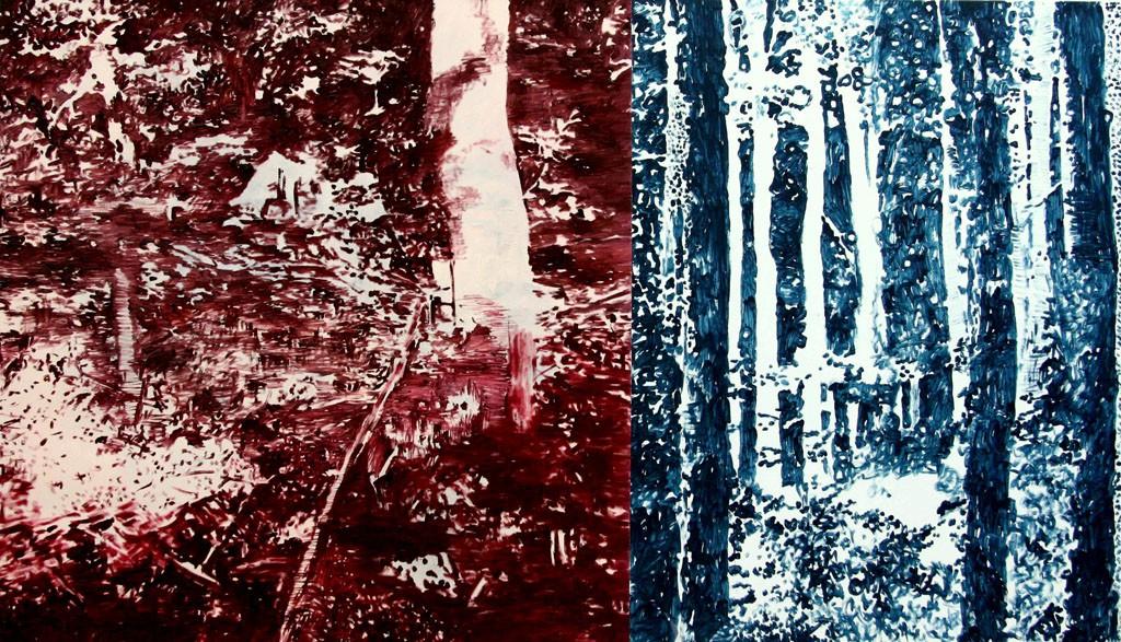 Roter und blauer Wald, 150x260