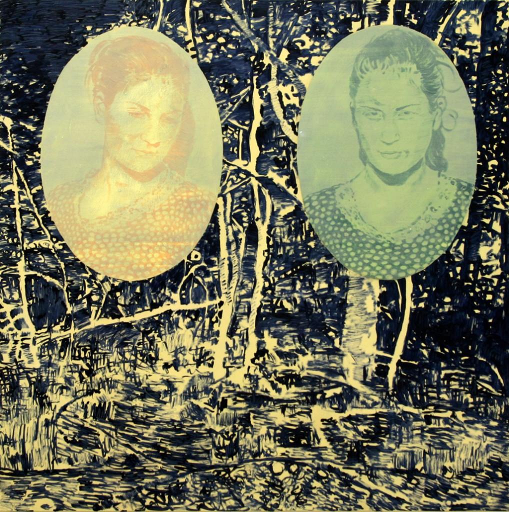 Zwei Schwestern,140x140, Acryl, Pigment, 2009