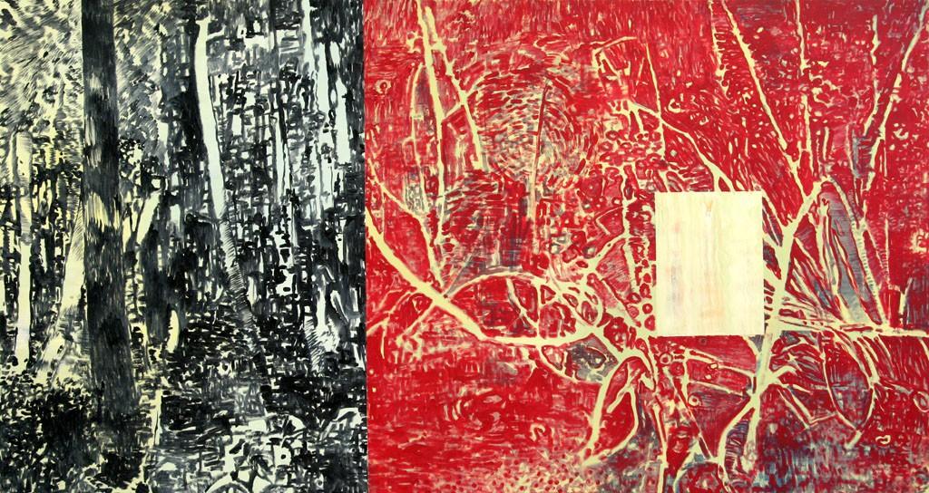 zwei Wälder mit Viereck, 140x140, Acr. Pigm. Öl, 2009
